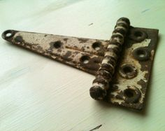 Vintage Antique Large Chippy Painted Metal Hinge