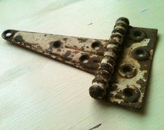 Vintage Antique Large Chippy Painted Metal Hinge
