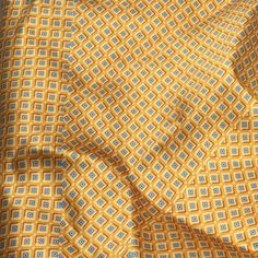 "Silk CHARMEUSE SATIN Fabric - Golden Yellow Squares 9""x28"" remnant"