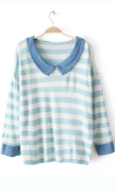 Cowboy collar striped  sweater blue #AHAI #WOMEN #FASHION