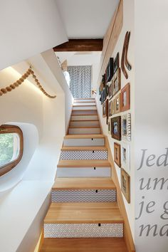 Apartment for a graphic designer, Bressanone, 2014 - beainteriors - wooden stair  with decoration tile