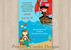 Pirate and Mermaid Birthday Invitation  Custom by printablecandee, $10.00