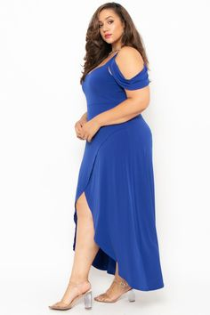 Plus Size Vienna Cold Shoulder Dress- Blue Plus Size Skater Dress, Plus Size Dresses, Plus Size Outfits, Blue Dresses, African Wear Designs, Most Beautiful Bollywood Actress, Plus Size Bikini, Trendy Plus Size Clothing, Stylish Girl Images
