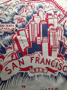 1939 Vintage Souvenir Tablecloth San by sweetteavintagefinds