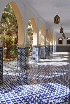 Courtyard with arches and tiles in Moroccan style in Rissani Vinyl Wall Mural - . - Courtyard with arches and tiles in Moroccan style in Rissani Vinyl Wall Mural – Africa - # Moroccan Decor Living Room, Moroccan Interiors, Boho Living Room, Moroccan Bedroom, Morrocan Decor, Moroccan Curtains, Moroccan Kitchen, Bohemian Living, Bohemian Decor