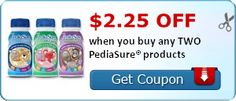 SAVE $2.25 off when you buy any TWO PediaSure® products   &   receive a $3 off any #PediaSure product when you sign up for their Newsletter!!  &  $1.50 off ANY PediaSure Multi-Pack Coupon! WOW!   &   Enter for a chance to WIN DIAPERS FOR A YEAR, too!