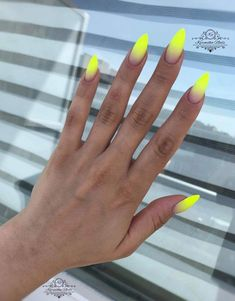 Installation of acrylic or gel nails - My Nails Summer Acrylic Nails, Best Acrylic Nails, Summer Nail Polish, Summer Nails, Neon Nails, Yellow Nails, Hair And Nails, My Nails, Nails Polish