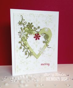 Card by Sherry Hester (121915) [Memory Box (dies) Glorious Hearts, Wintry Snowflake Bundle; (stamps) Moose Crossing; (stencils) Adornment]