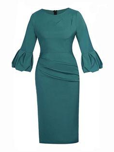 Fashionmia - Fashionmia Bell Sleeve Plain Bodycon Dress - AdoreWe.com