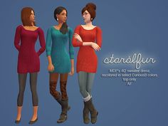 "simper-fi: "" Simblreen: *is over* Me: *thinks of something cute to make* Ah well, better late than never. Just what it says on the tin - recolors of a sweater dress converted by @mdpthatsme. All files are properly labeled so you can chuck any colors..."
