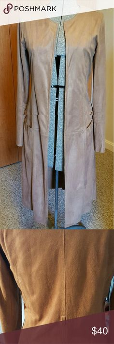 Coat Light beige long coat, very thin, faux suede, extremely soft, like butter, back shows a loop hole, but has no belt. Size Med. Has two front pockets. Slightly worn. Max Studio Jackets & Coats Trench Coats