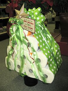 Paper Towel Tree (or Toilet Paper Tree) ~~ Could individually wrap the paper towels or toilet paper with tissue paper ~ Great gift for a college student ~ Hostess gift when you're visiting as a house guest ~  White elephant gift.  SR~
