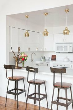 Renovation Inspiration: Colorful Kitchen Lighting. These cuties are practically upside-down champagne-colored wine glasses!