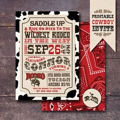 Printable Cowboy Party Invitation Western by BloomberryDesigns