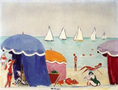 The Beach at Deauville. Cornelis Theodorus Maria van Dongen, usually known as Kees van Dongen or just Van Dongen, was a Dutch painter and one of the Fauves. He gained a reputation for his sensuous, at times garish, portraits. Art And Illustration, Illustrations, Xi Pan, Art Fauvisme, Art Plage, Dutch Painters, Art Prints For Sale, Art Moderne, Beach Art