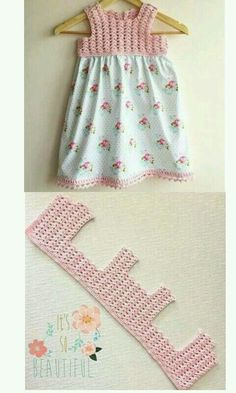 Add a Crochet yoke to a purchased skirt or dress - Carmen Acevedo Vestido de crochet y tela, can How to Crochet Baby Toddler Gi Crochet Patterns Dress Crochet and fabric dress, crochet hook and fabric skirt. Scarfs crochet how to crochet romantic lacy sha Crochet Yoke, Crochet Fabric, Filet Crochet, Crochet Stitches, Crochet Blouse, Easy Crochet, Thread Crochet, Baby Patterns, Crochet Patterns