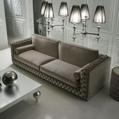 Luxury Italian Chocolate Brown Velvet Sofa