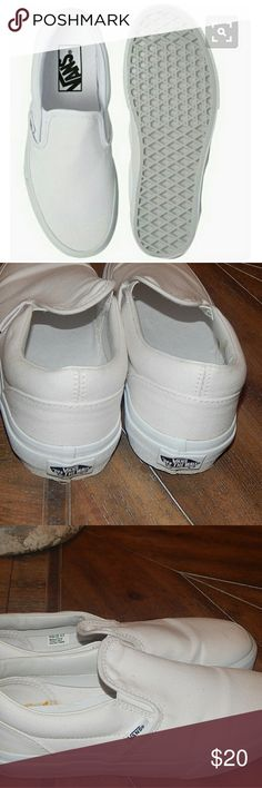 Kids Vans classic white slip ons White kids slip ons size 4 slightly used may show some sigms og wear see pics. Vans Shoes Sneakers