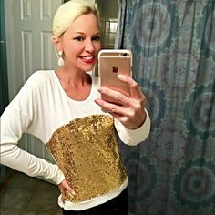 Beautiful Gold sequined hi lo light sweatshirt! New! Pretty hi lo rounded hemline creates a gorgeous silhouette! Front panel is fully sequined in sparkly gold! Available in S-M-L please comment on your size and I will create a listing Sweaters