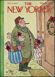 William Steig : Cover art for The New Yorker 2236 - 23 December 1967 The New Yorker, New Yorker Covers, Christmas Cover, Christmas Art, Vintage Christmas, Christmas Comics, Christmas Scenes, Christmas Gifts, Old Magazines
