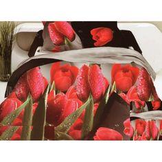 Hnedo krémové posteľné obliečky s červenými tulipánmi - domtextilu. Bedroom Bed, Bedroom Decor, Bedrooms, Strawberry, Fruit, Bedding, 3d, Bedroom, Bed Linens