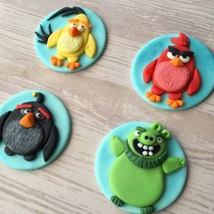 The Angry Birds Movie fondant cupcake toppers by HoneyTheCake