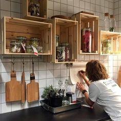 New kitchen open shelving diy ikea hacks ideas – diy kitchen decor ideas Small Kitchen Hacks, Ikea Hack Kitchen, Diy Kitchen Storage, Kitchen Decor, Diy Kitchen Cabinets, New Kitchen, Kitchen Interior, Kitchen Storage Shelves, Ikea Kitchen Storage