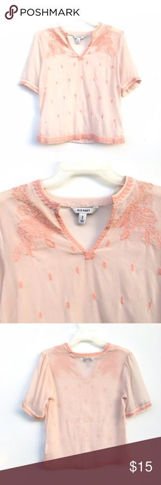 Sheer Peachy Blouse Sheer Old Navy blouse with polka dots throughout. Small scoop to v-neck neckline. Lace detailing on top. Old Navy Tops Blouses