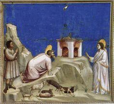 Joachim's Sacrificial Offering - Giotto.  c.1305.  Fresco.  200 x 185 cm.  Scrovegni (Arena) Chapel, Padua, Italy.