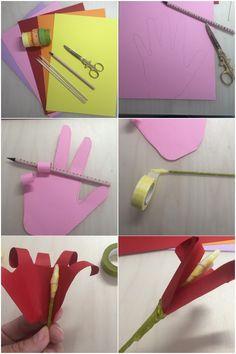 Step by Step Anleitung um eine Papierblume aus einer Kinderhand zu machen - diephotographin Plastic Cutting Board, Kids Hands, Paper Bouquet Diy, Fathers Day, Homemade, Tutorials