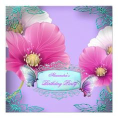 Purple Pink Teal Butterfly Birthday Party 2a Custom Invitation