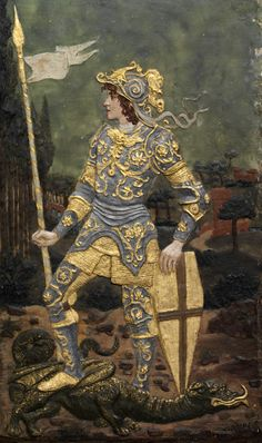 St George and the Dragon (1897), Ella Casella, wax on wood, Gift of the artist. Museum no. 1005-1897