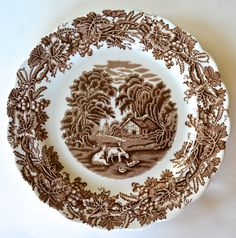 VintageBrown and White Toile Transferware Salad Plate Grapes Vines Cottage Ducks Grazing Cows / Cattle