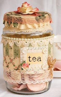 shabby chic tea jar
