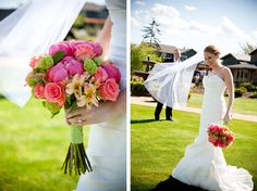 enchanting mermaid dress and and multicolored bouquet.