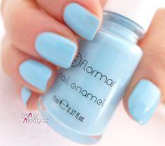 blue nail, Flormar , nail design