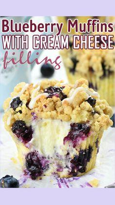 Blueberry Cheesecake Muffins, Blueberry Cream Cheese Muffins, Blueberry Recipes, Blue Berry Muffins, Strawberry Muffin Recipes, Strawberry Muffins, Blueberry Crumble, Baking Recipes, Dessert Recipes