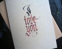 Calligraphy Valentine's Card  Hand Lettered by OtherAlice on Etsy