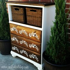 : Stenciled/Stained Dresser for Chocolate Themed Furniture Makeover D.: Stenciled/Stained Dresser for Chocolate Themed Furniture Makeover D. How to Use Dark Wax on Furniture Paint Furniture, Furniture Projects, Kids Furniture, Dresser Furniture, Bedroom Furniture, Furniture Stores, Dressers, Kitchen Furniture, Luxury Furniture