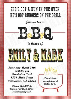 Personalized BBQ Baby Q Shower Invitations....bun in the oven burgers on the grill...hahahaha