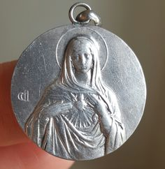 Vintage Immaculate Heart of Mary Medal Catholic Blessed Virgin Mother Mary Blessed Mother Art Deco Catholic Religious November 16 1954 by PinyolBoiVintage on Etsy