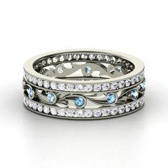 Palladium Ring with Blue Topaz & White Sapphire  | Sea Spray Band | Gemvara