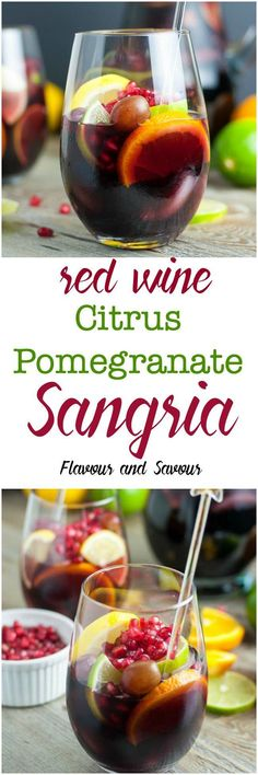 This Citrus Pomegranate Sangria is easy  to make and perfect for holiday entertaining. Rich with Vitamin C from oranges, lemons, limes and pomegranate, it's full of flavour but not too sweet. Celebrate! #holiday #cocktail #sangria