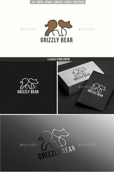 Grizzly Bear Logo by SilverFoxStudio Modern Grizzly bear logo A fully editable and resizable vector logo Illustrator AI file (CS6) Illustrator EPS 10 file Transpar