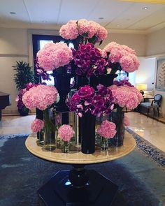 Black and pink Hotel Flower Arrangements, Beautiful Flower Arrangements, Unique Flowers, Beautiful Flowers, Deco Floral, Arte Floral, Floral Design, Blossoms Florist, Jeff Leatham