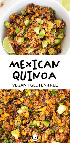 One-Pan Mexican Quinoa (Vegan, Gluten-Free) - Gathering Dreams - - This fail-proof one-pan Mexican quinoa is the perfect weeknight dinner recipe, ready in just 30 minutes. A flavorful recipe for Mexican food lovers! Beef Recipes, Mexican Food Recipes, Vegetarian Recipes, Healthy Recipes, Dairy Free Quinoa Recipes, Quinoa Dinner Recipes, Quinoa Meals, Mexican Desserts, Xmas Recipes