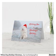 White Dog Holiday Christmas Greeting Card Samoyed Business Christmas Cards, Holiday Greeting Cards, Custom Greeting Cards, Christmas Greetings, Christmas Dog, Christmas Holidays, Cute White Dogs, Personalised Christmas Cards, Samoyed
