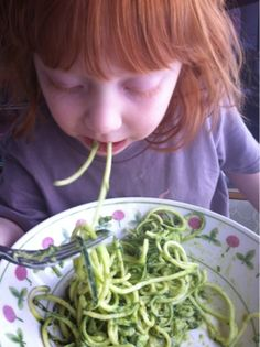 Meat Free Mom: Zucchini Pasta with Creamy Basil Avocado Sauce raw vegan kid-friendly food