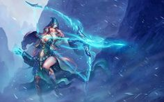 Ashe League of Legends Archer Sexy Girl Champions League Of Legends, League Legends, Fantasy Warrior, Fantasy Art, Character Concept, Character Design, Video Game Backgrounds, Seven Knight, Girl Background