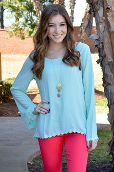 Hint of Mint Blouse - Girly Girl Boutique